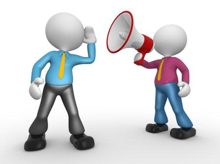 personas comunicandose: 3d gente - hombre con un meg�fono rojo