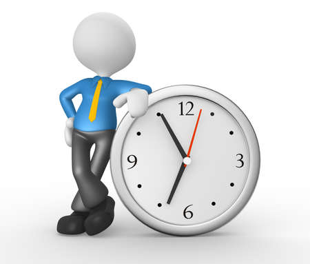 elapsed: 3d people - man, person and a big clock. Businessman Stock Photo