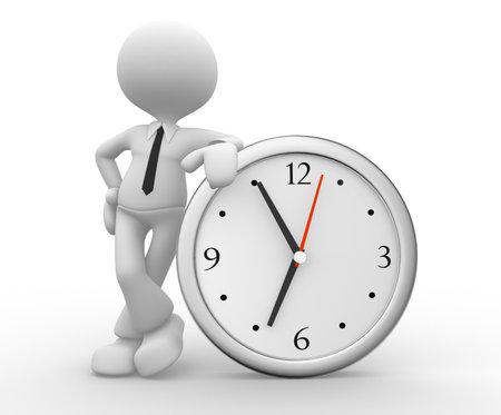 marioneta: 3d gente - hombre, persona y un gran reloj. Hombre de negocios