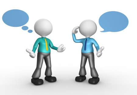 3d people - men, person talking and blank bubbles. Stock Photo - 17905007