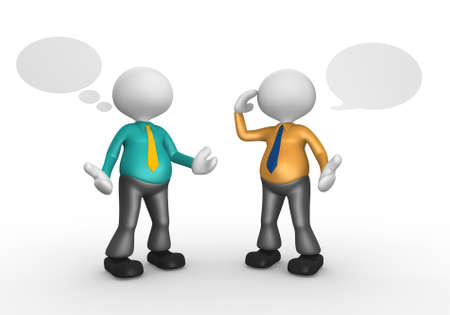 3d people - men, person talking and blank bubbles. Stock Photo - 17905004