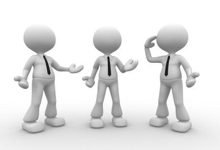 unsatisfied: 3d people - men, person talking in group
