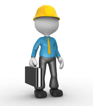 3d people - man , person with a briefcase. Businessman photo
