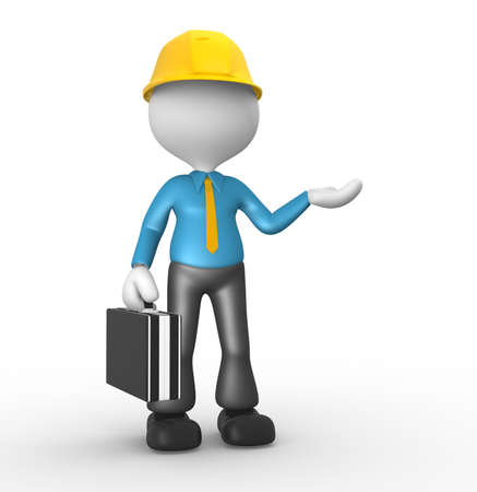 3d people - man , person with a briefcase. Engineer photo