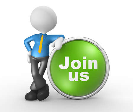 3d people - man, person with a button  Join us. Businessman