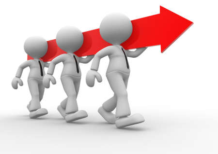 team working together: 3d people - men, persons carry an arrow. Concept of teamwork
