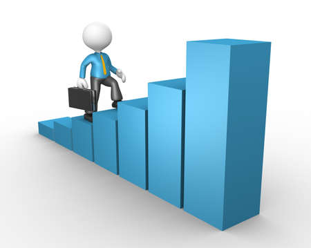 increase diagram: 3d people - men, person with a financial diagramme. Successful