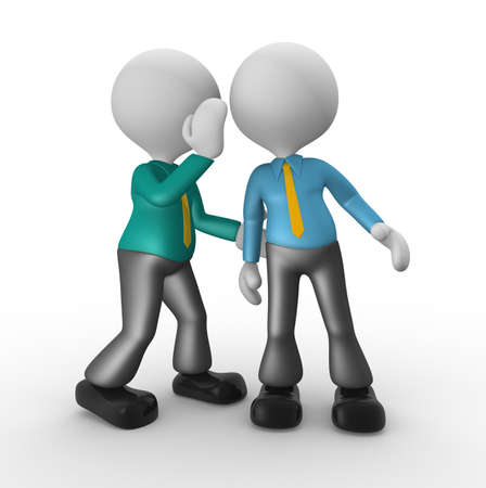 3d people - man, person whispering in his ear to another person. photo