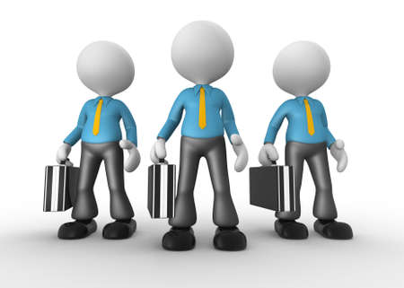 unrecognizable person: 3d people - men, person with briefcase and tie. Businessmen. Teamwork. Stock Photo