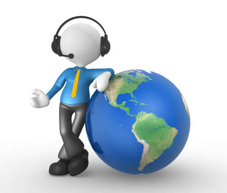 3d people - man, person with headphones and the earth globe Stock Photo - 17905077