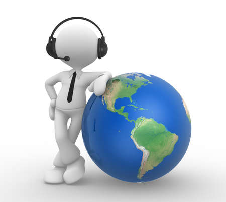 3d people - man, person with headphones and the earth globe Stock Photo - 17905075