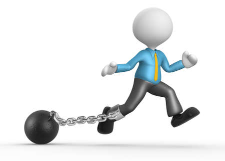 misunderstanding: 3d people - man, person with a chain ball. Prisoner.