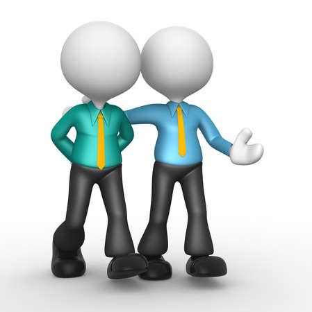 preoccupied: 3d people - men, person. The concept of friendship