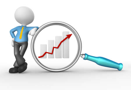 3d people - man, person with magnifying glass and  graphic chart. Businessman photo
