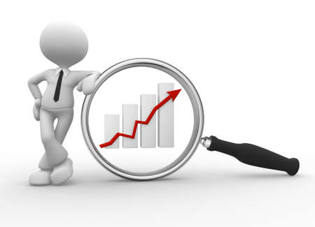 magnifier: 3d people - man, person with magnifying glass and  graphic chart. Businessman Stock Photo
