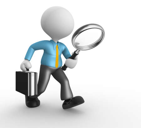 3d people - man, person with magnifying glass in hand and a briefcase. Businessman Stock Photo