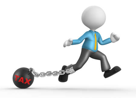enslave: 3d people - man, person with chain ball. Concept of tax. Businessman.