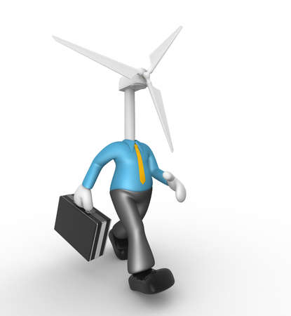 impeller: 3d people - man, person with a wind turbine. Concept of ecology.