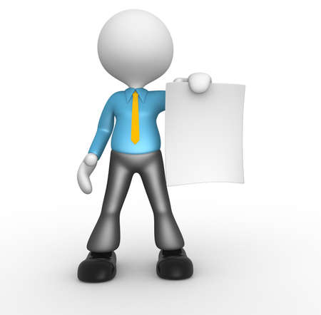 3d people - man, person with a blank paper. Businessman photo