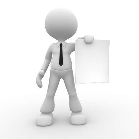 hand holding paper: 3d people - man, person with a blank paper. Businessman