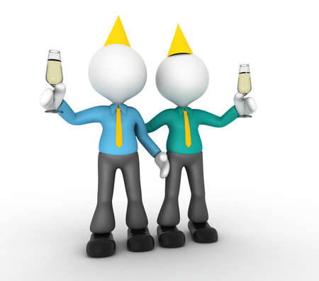 3d people - man, person a toast with a glass of champagne. Businessmen photo