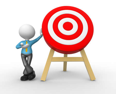 objectives: 3d people - man, person with a target. Businessman