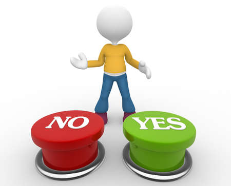 3d people - man, person choosing between 'yes'or 'no' photo
