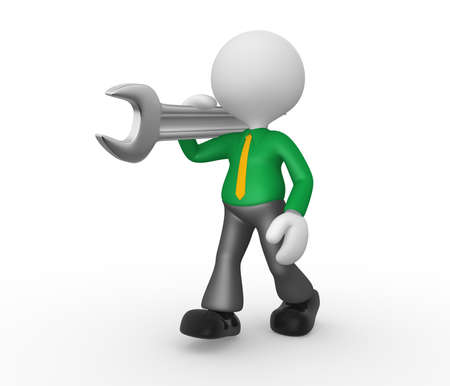 3d people - man, person with a wrench. Businessman Stock Photo - 18436189