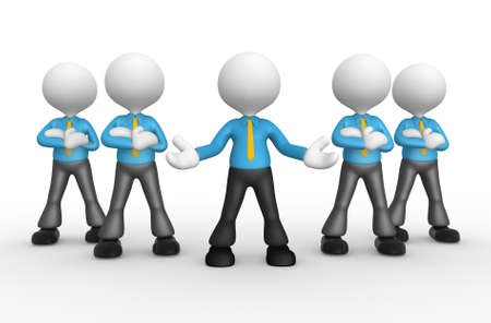 3d people - men, person together. Businessmen. Welcome