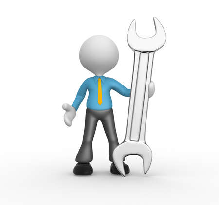 3d people - man, person with a wrench. Businessman Stock Photo - 18436187