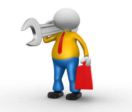 3d people - man, person with toolbox and a wrench. Stock Photo - 18436190