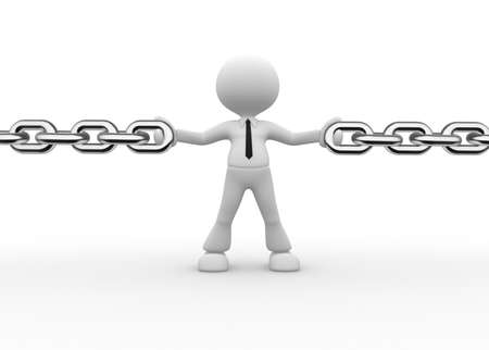 joining forces: 3d people - man, person and a chain