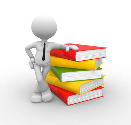 3d people - man, person with books Stock Photo - 18437111