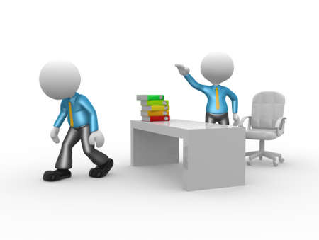 kicked out: 3d people - man, person kicked out of office. Go ahead Stock Photo