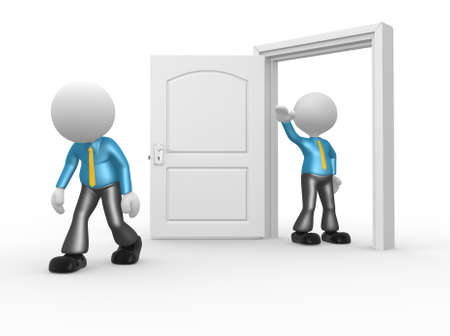kicked out: 3d people - man, person kicked out the door Stock Photo