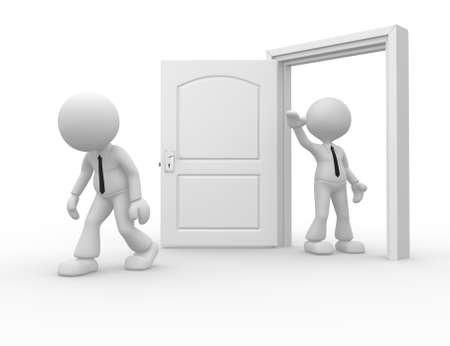 kick out: 3d people - man, person kicked out the door Stock Photo