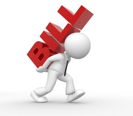 3d Menschen - ein Mann, Person, gestresst, weil der Rechnungen Standard-Bild