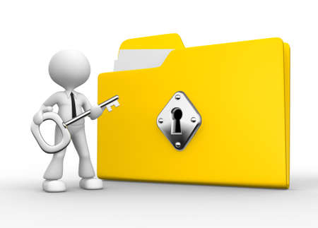 3d people - man, person with a folder and a key. photo