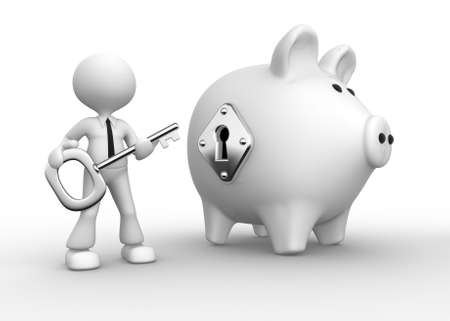 personal banking: 3d people - man, person with a key and a piggy bank