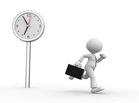 3d people - man, person running. Businessman and a clock photo