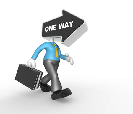 different ways: 3d people - man, person with an arrow and word one way. Businessman