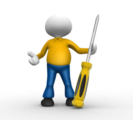 3d people - man, person with a screwdriver Stock Photo - 18456183