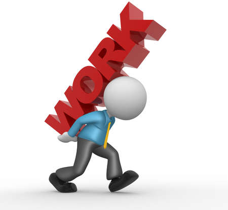 3d people - man, people carrying text on his back Stock Photo - 18456095