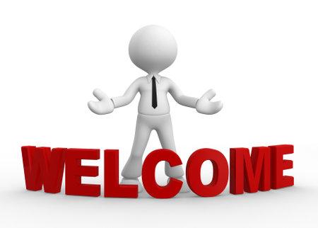 bienvenida: 3d gente - hombre, personas y palabras de bienvenida Welcome gesto Foto de archivo