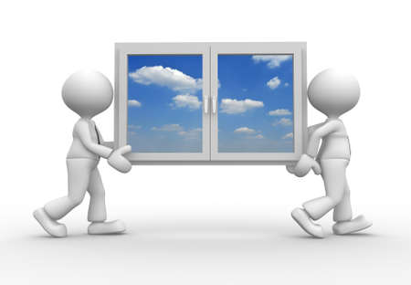 new opportunity: 3d people - man, person with a window