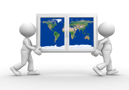 3d people - men, person carrying a window with earth globe photo