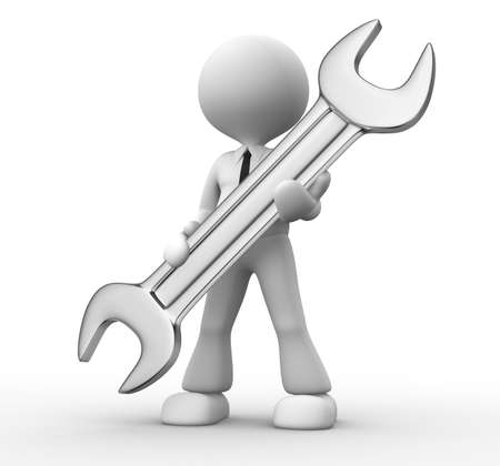 3d  people - man, person with a wrench in hands Stock Photo - 18492188