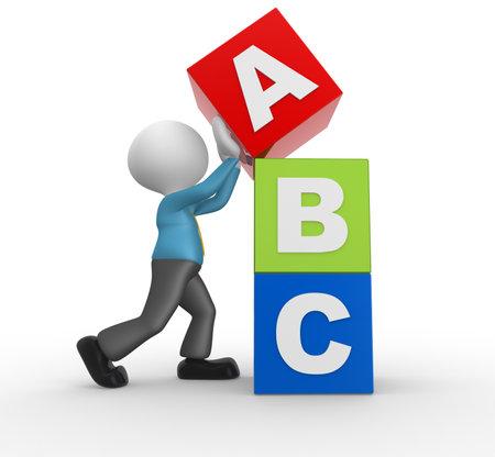 niño empujando: 3d gente - hombre, persona con cubos alfabeto ABC