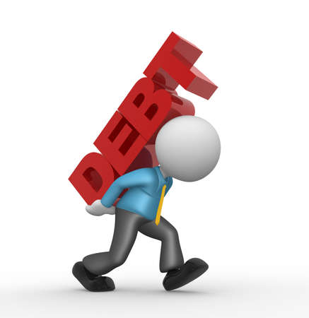 over the shoulder: 3d people - man, person carrying word  debt  on his back  Debt concept