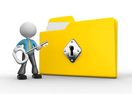 file transfer: 3d people - man, person with protected folder holding key in his hand.  Stock Photo